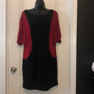 Black and Red Color Block Dress - 12